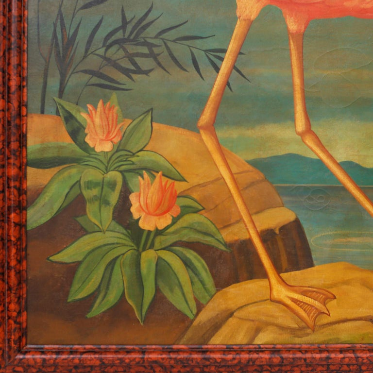 Large Oil Painting on Canvas of a Flamingo by William Skilling In Good Condition For Sale In Palm Beach, FL