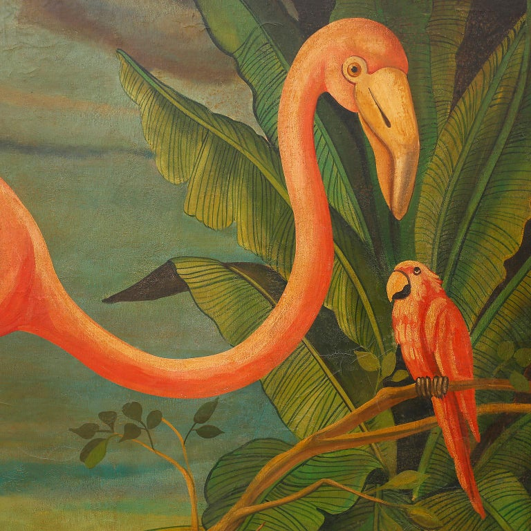 20th Century Large Oil Painting on Canvas of a Flamingo by William Skilling For Sale