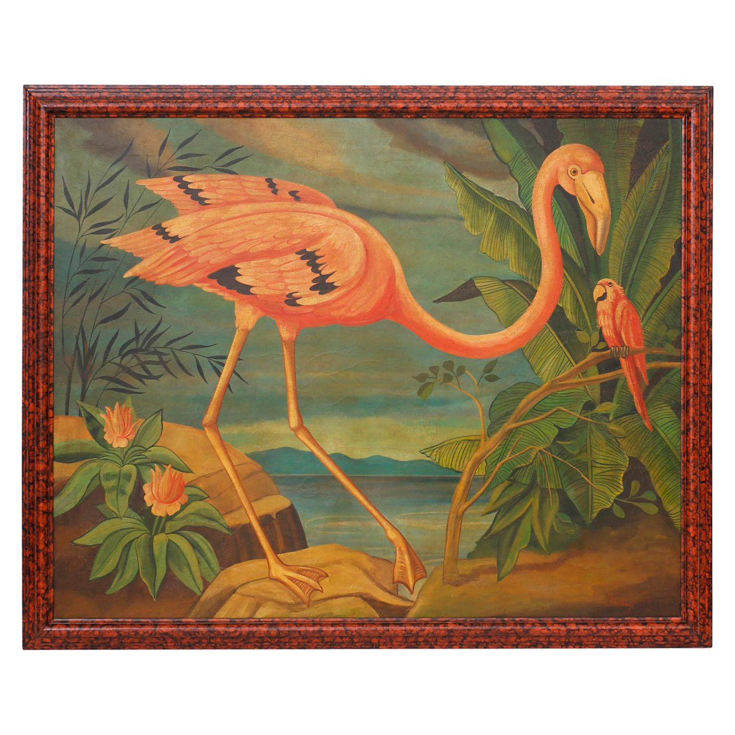 Large Oil Painting on Canvas of a Flamingo by William Skilling
