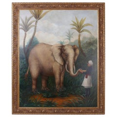 Large Oil Painting on Canvas of an Elephant and a Man