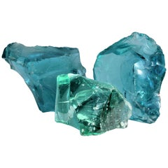 Large Old Aqua Green Sculptural Cullet Glass Chunks