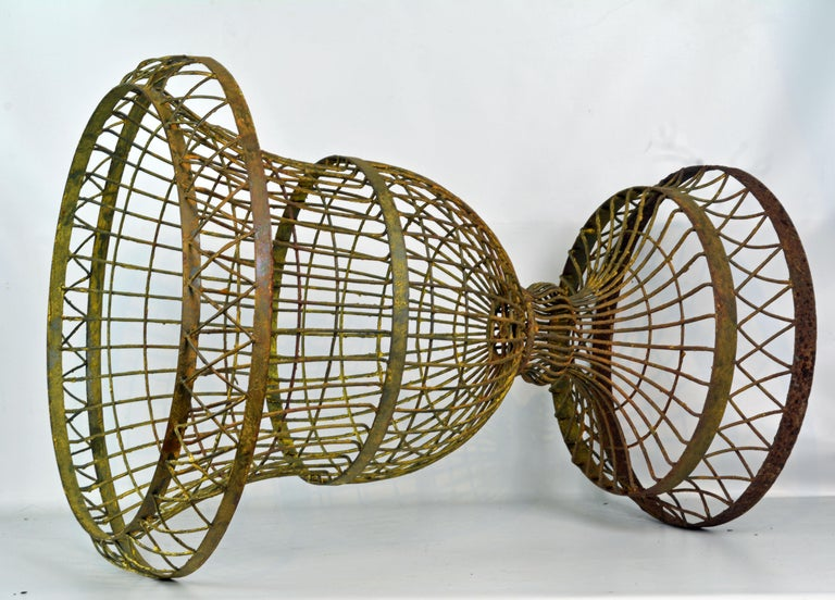 Large Old French Wire Urn Planter 2