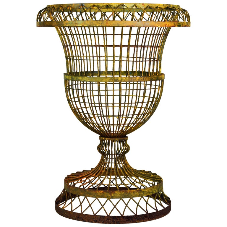 Large Old French Wire Urn Planter For Sale