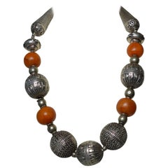 Large Old Middle Eastern Silver Beaded Tribal Necklace