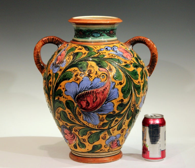 Large Old or Antique Hand-Turned Italian Faience Majolica Sgraffito Pottery Vase For Sale 6