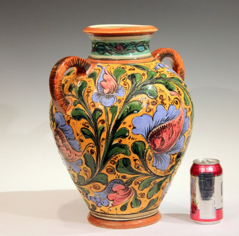 Renaissance Revival Large Old or Antique Hand-Turned Italian Faience Majolica Sgraffito Pottery Vase For Sale