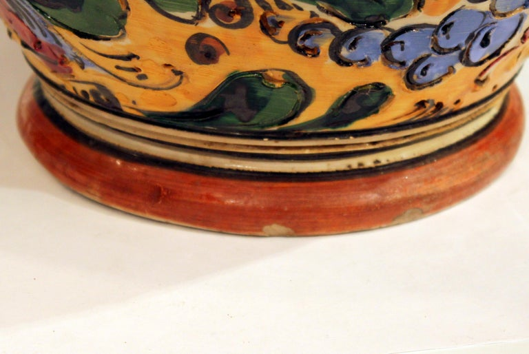 20th Century Large Old or Antique Hand-Turned Italian Faience Majolica Sgraffito Pottery Vase For Sale