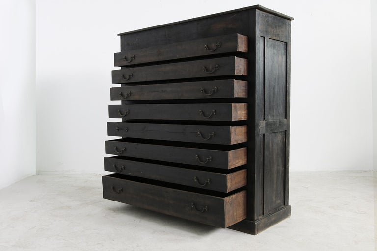 20th Century Large Old Vintage Chest of Drawers, Rustic Antique Indian Cabinet Sideboard For Sale