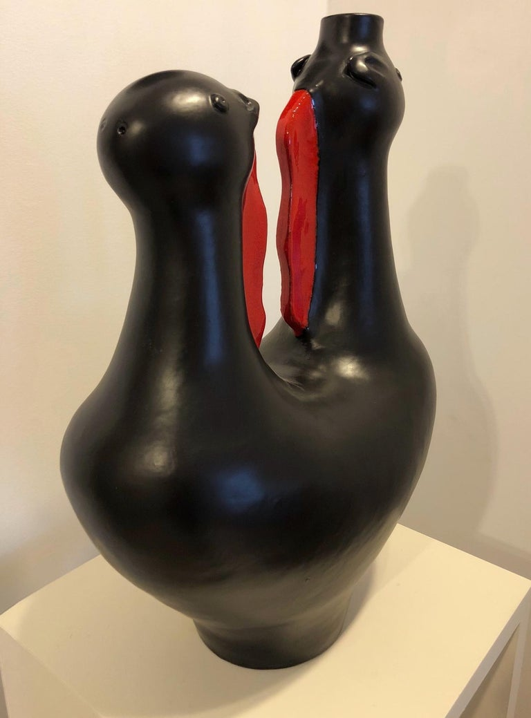 Large One of a Kind Biomorphic Ceramic Base Lamp by Dalo In Excellent Condition For Sale In Paris, FR