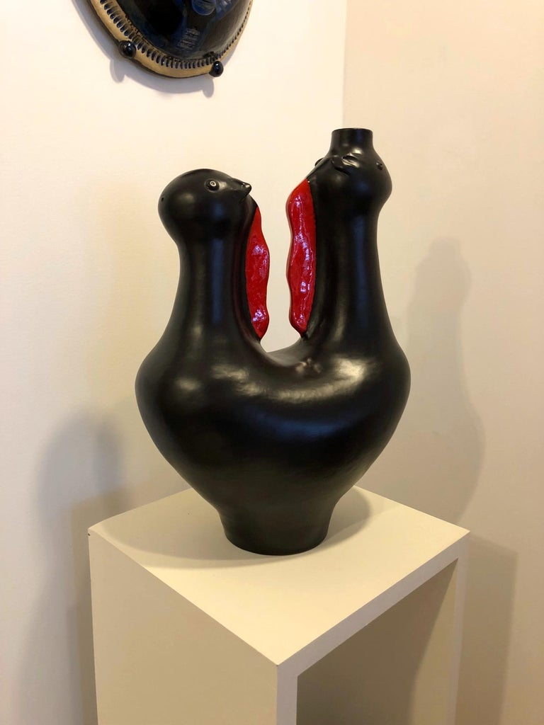 Contemporary Large One of a Kind Biomorphic Ceramic Base Lamp by Dalo For Sale