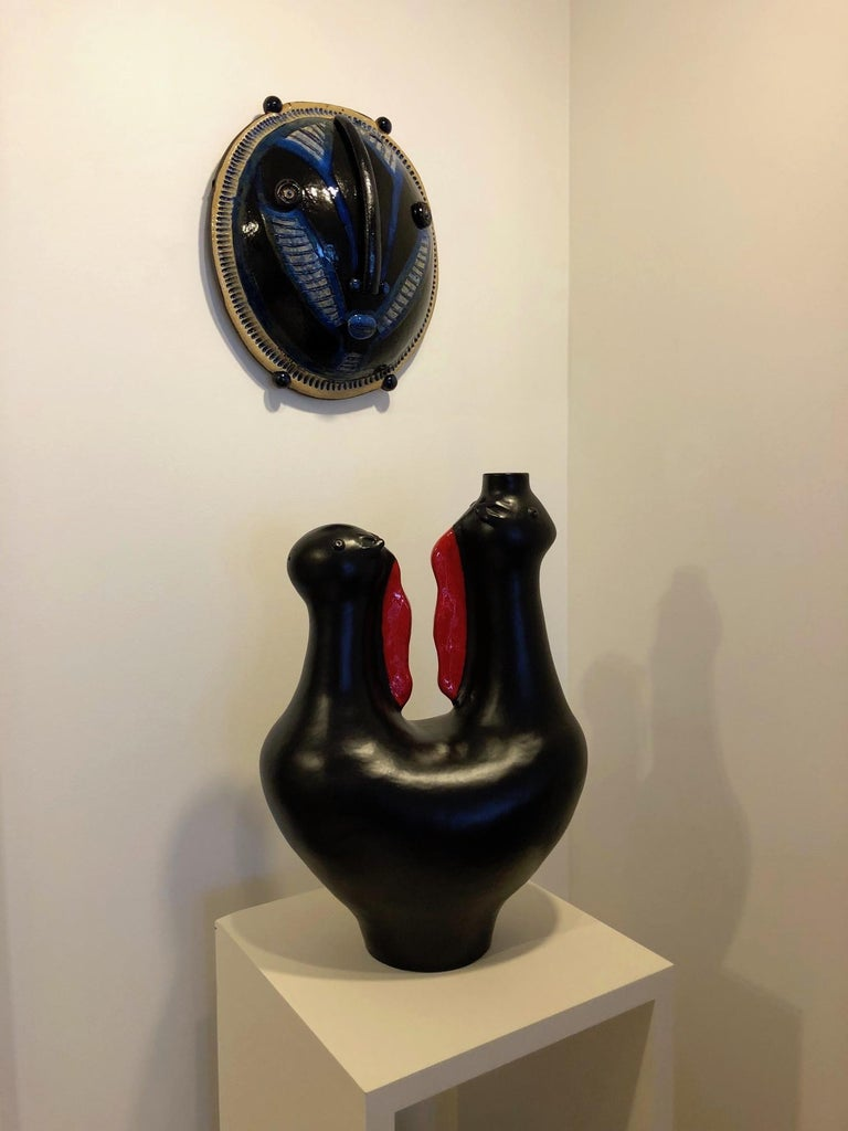 Large One of a Kind Biomorphic Ceramic Base Lamp by Dalo For Sale 3