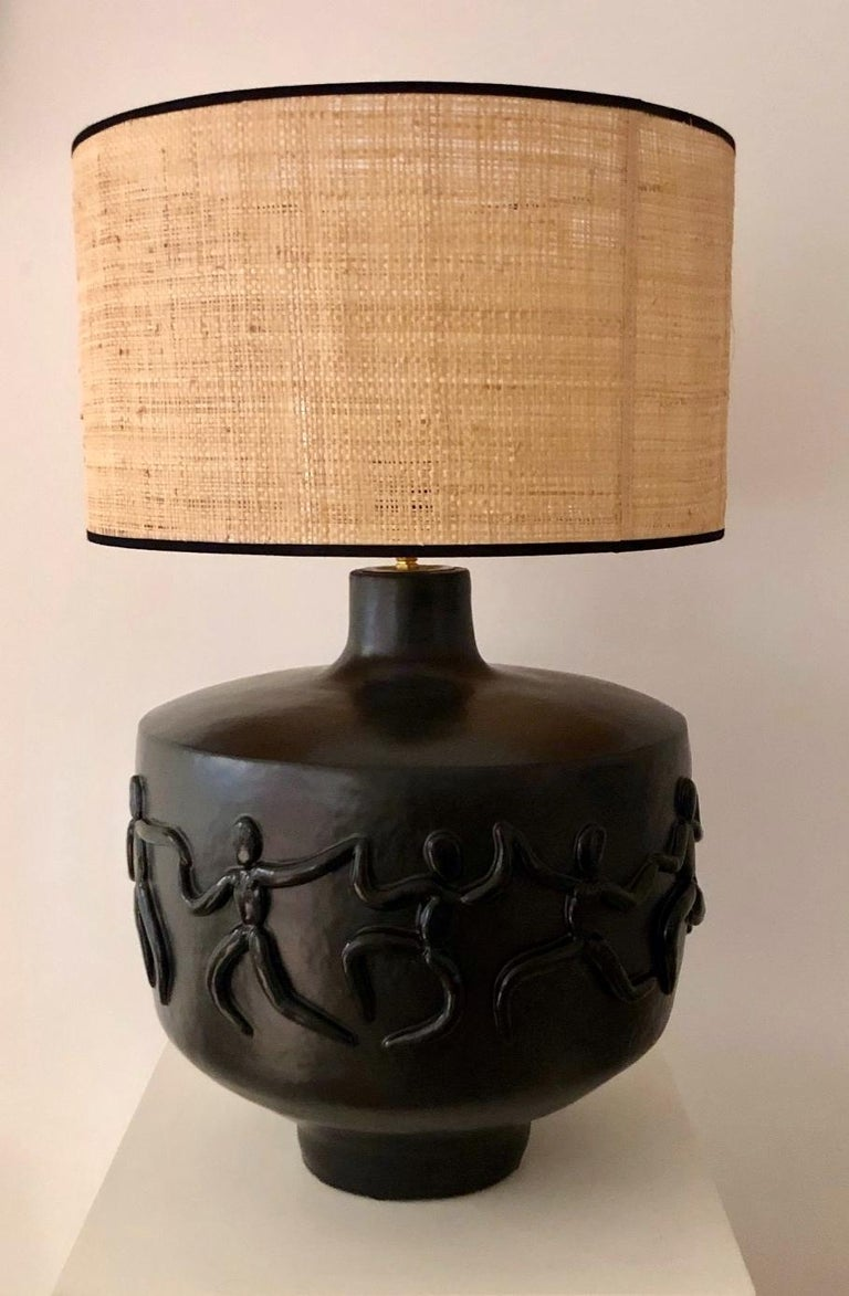 French Large One of a Kind Black Ceramic Base Lamp Signed by Dalo For Sale