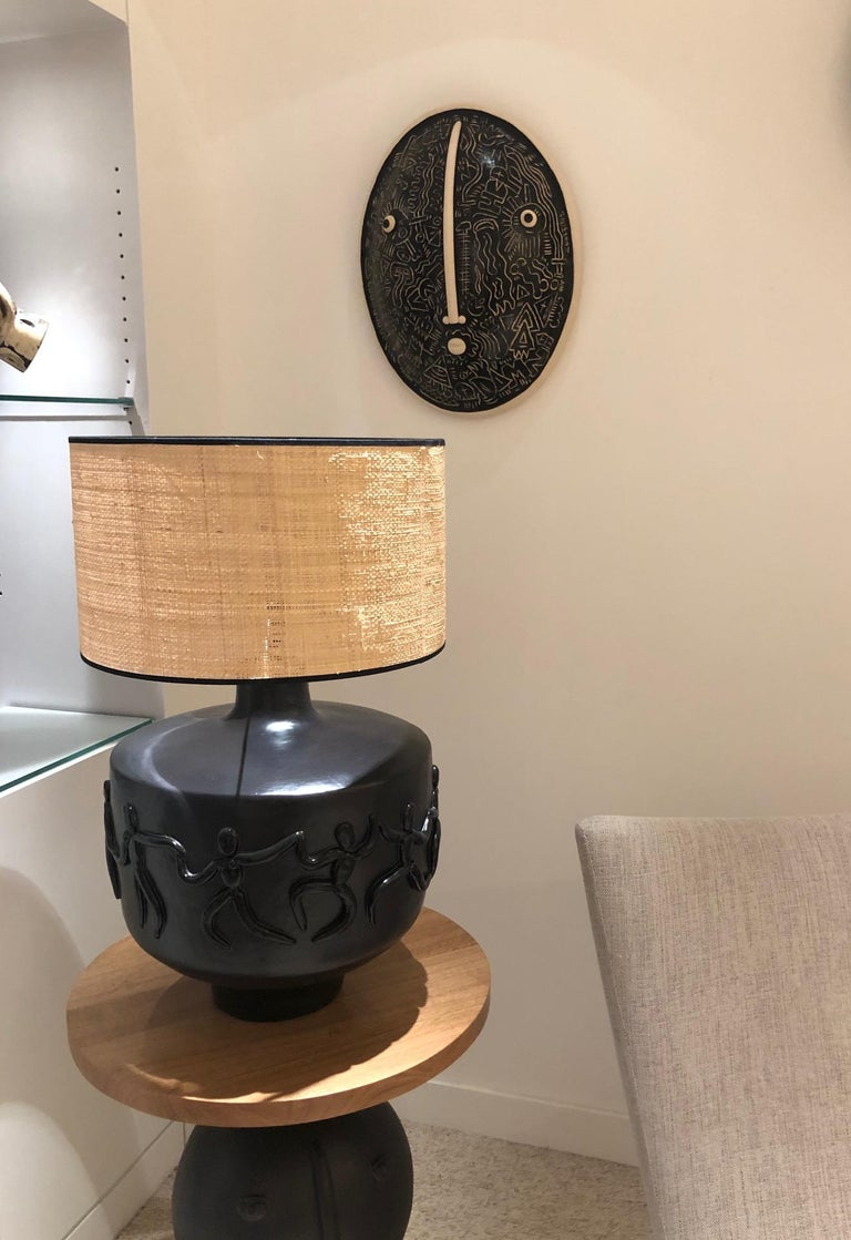 Contemporary Large One of a Kind Black Ceramic Base Lamp Signed by Dalo For Sale