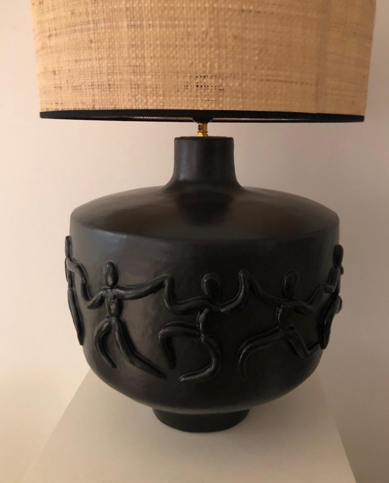 Large One of a Kind Black Ceramic Base Lamp Signed by Dalo For Sale 1