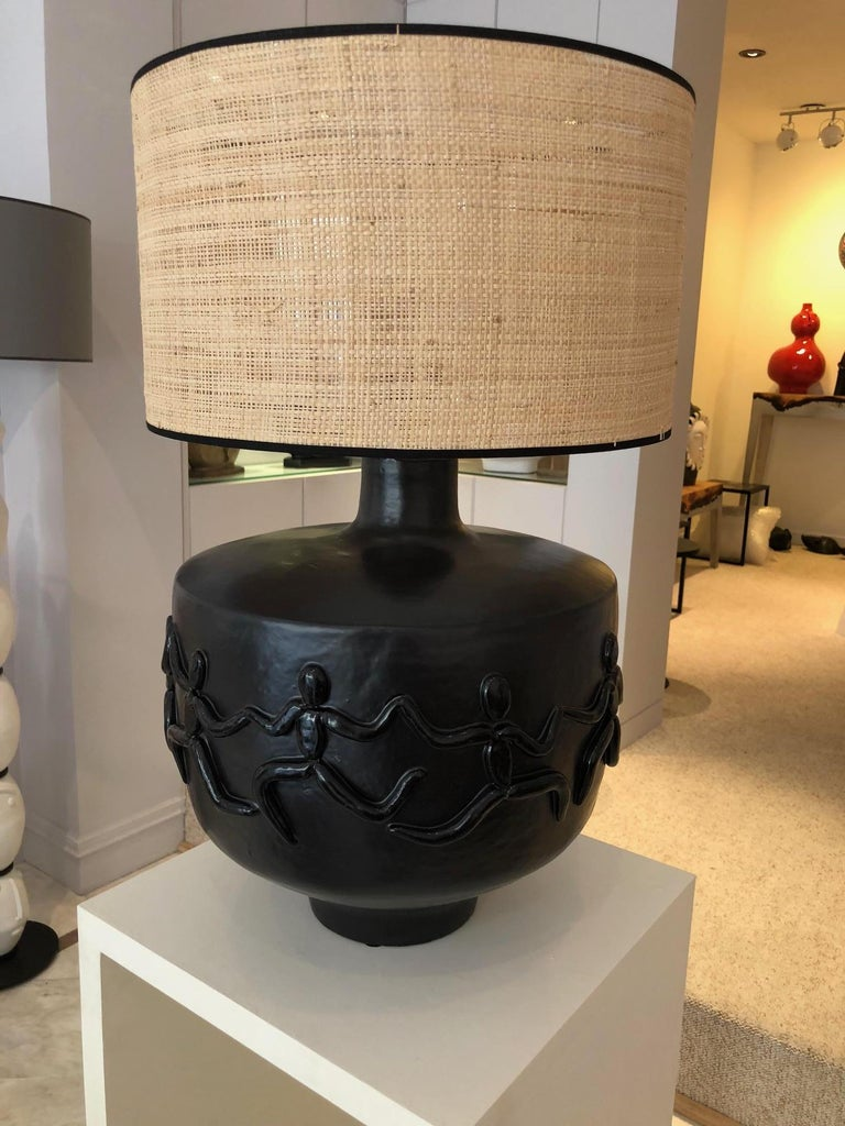 Large One of a Kind Black Ceramic Base Lamp Signed by Dalo For Sale 3