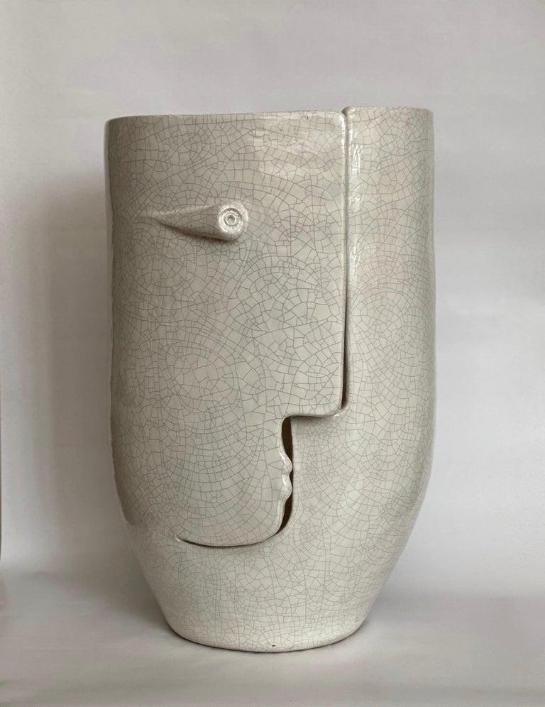 Large hand-sculpted ceramic vase or sculpture