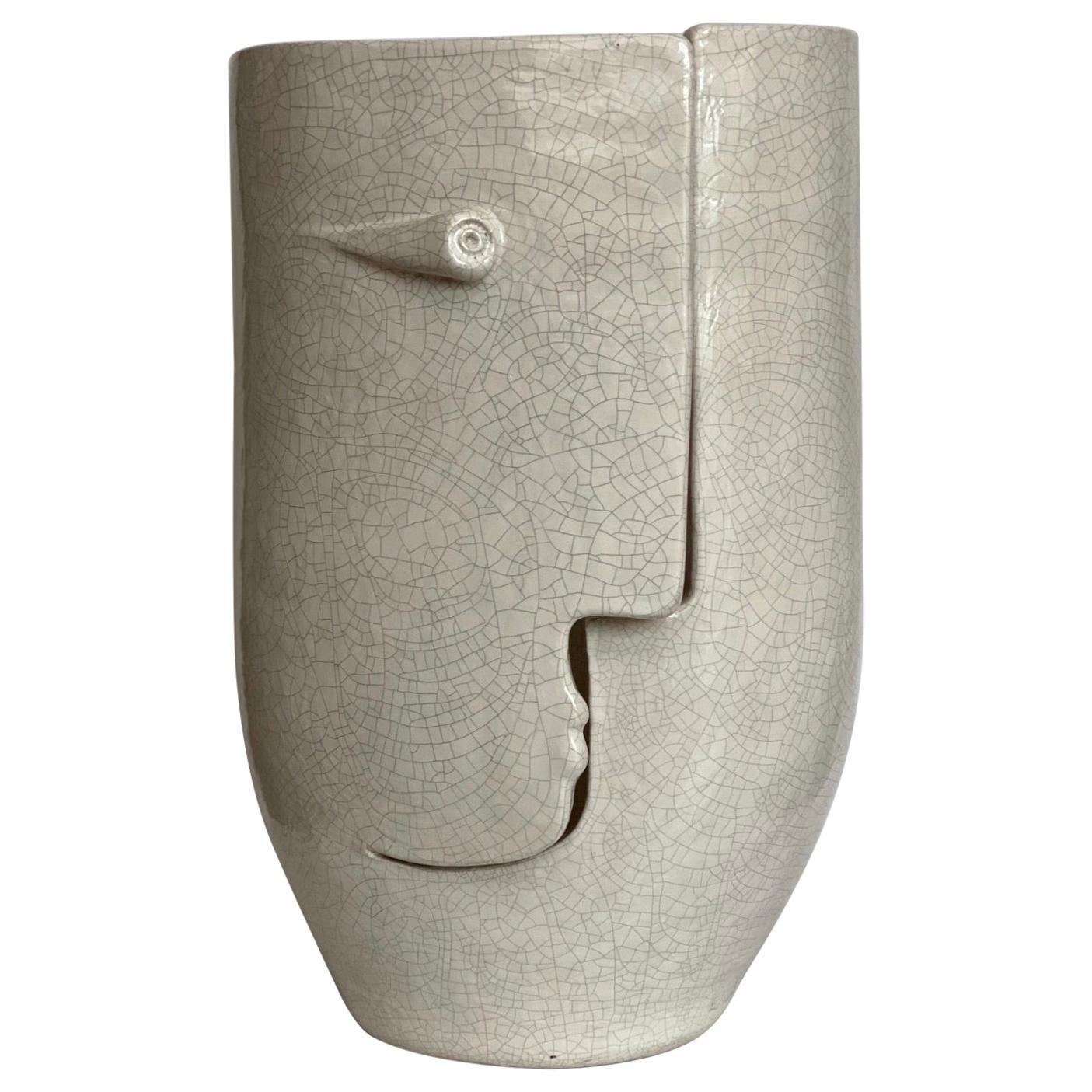 """Large One of a Kind Ceramic """"Idole"""" Vase Signed by Dalo"""