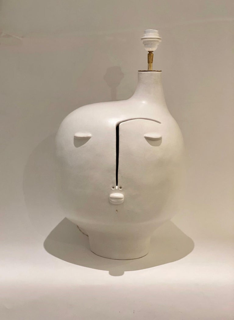 Contemporary Large One of a Kind Ceramic Lamp Base / Sculpture Signed by Dalo For Sale
