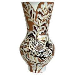 Large One of a kind Ceramic Vase with Bird by Roger Capron, Vallauris, 1950s