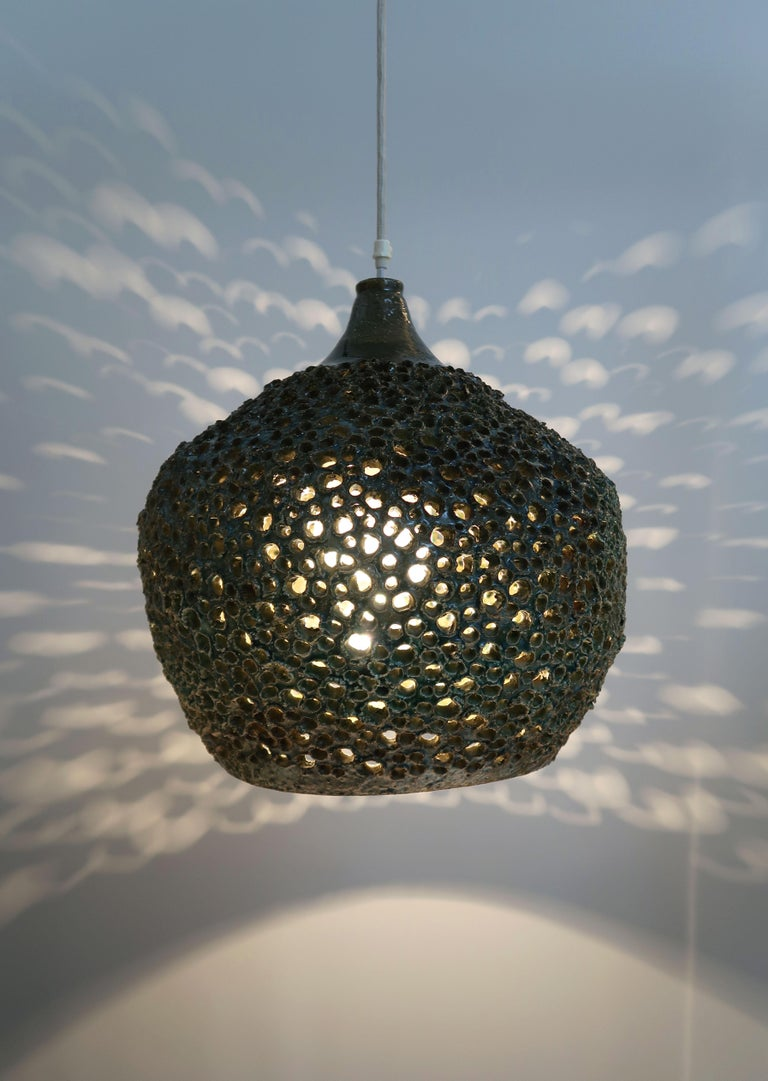 Large One-of-a-Kind Danish Perforated Ceramic Pendant by Sejer Keramik, 1960s In Good Condition For Sale In Frederiksberg, DK