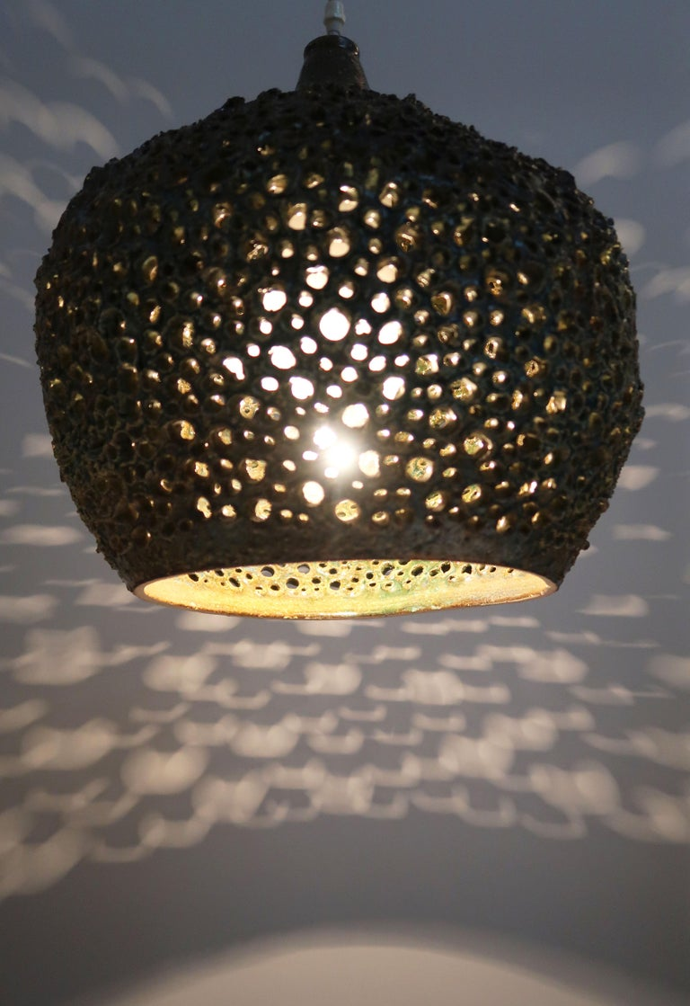 Mid-20th Century Large One-of-a-Kind Danish Perforated Ceramic Pendant by Sejer Keramik, 1960s For Sale
