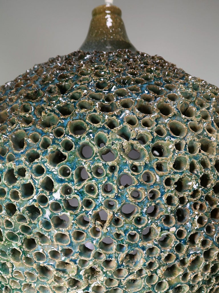 Large One-of-a-Kind Danish Perforated Ceramic Pendant by Sejer Keramik, 1960s For Sale 1