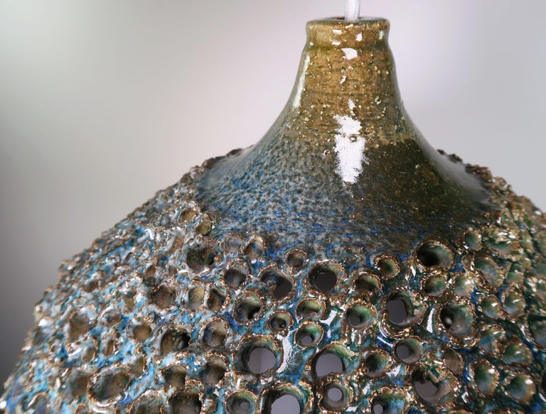 Large One-of-a-Kind Danish Perforated Ceramic Pendant by Sejer Keramik, 1960s For Sale 2