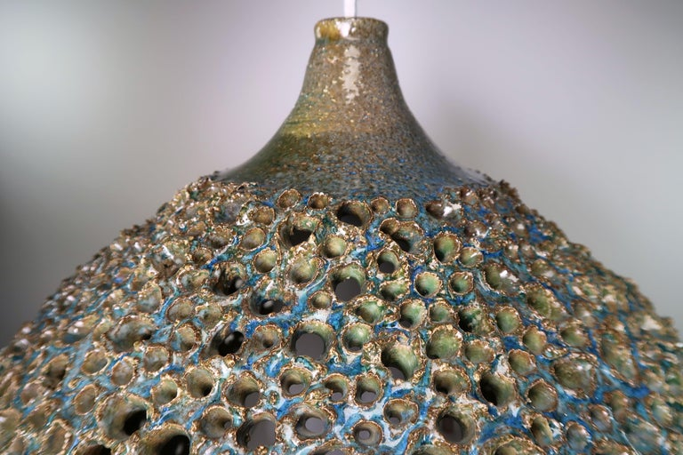 Large One-of-a-Kind Danish Perforated Ceramic Pendant by Sejer Keramik, 1960s For Sale 3