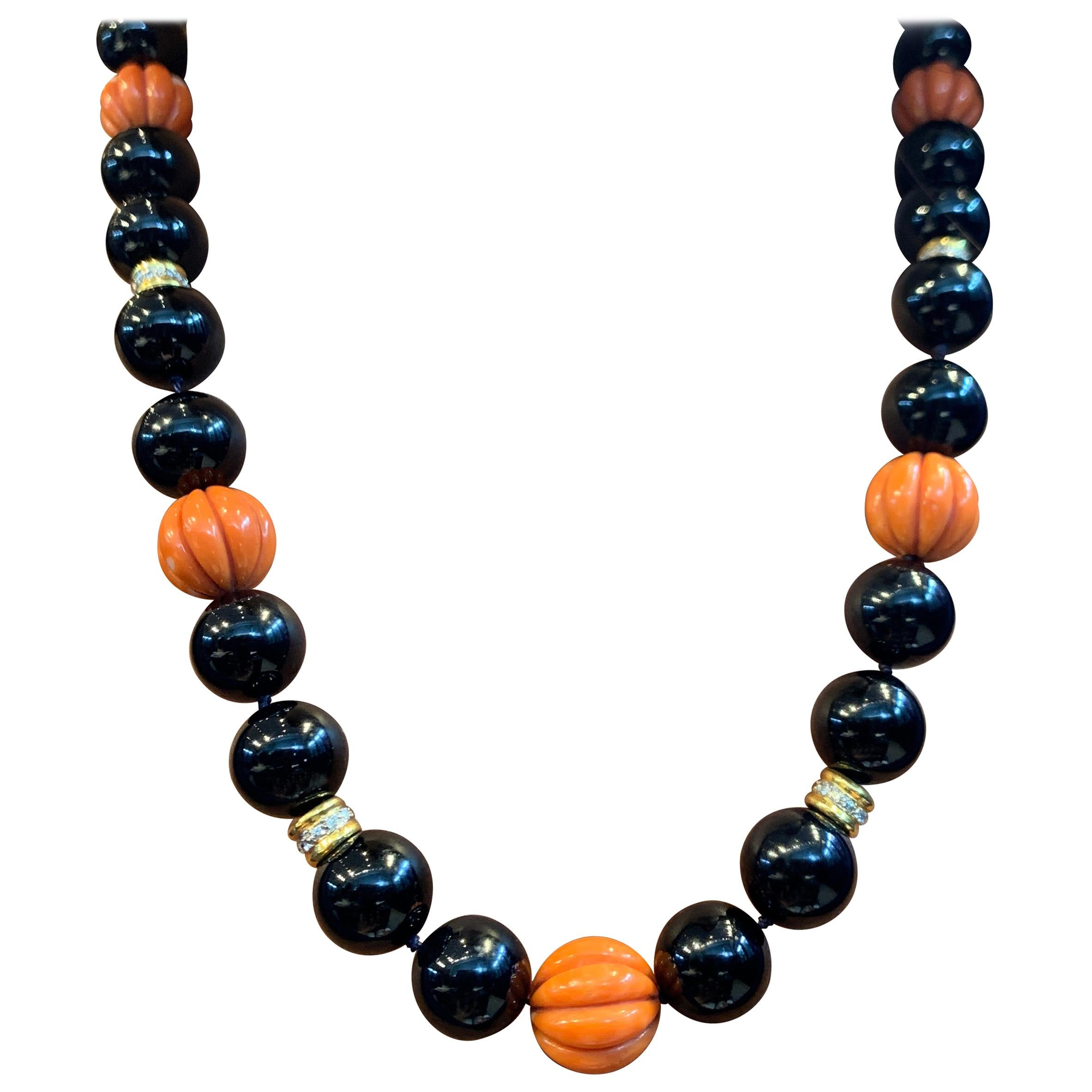 Large Onyx and Carved Coral Bead and Diamond Necklace