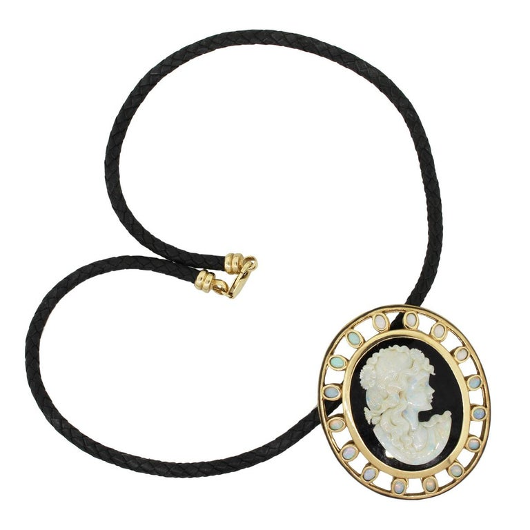 Women's Large Onyx Opal Cameo Pendant on Leather Cord Pendant Necklace For Sale