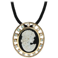 Large Onyx Opal Cameo Pendant on Leather Cord Pendant Necklace