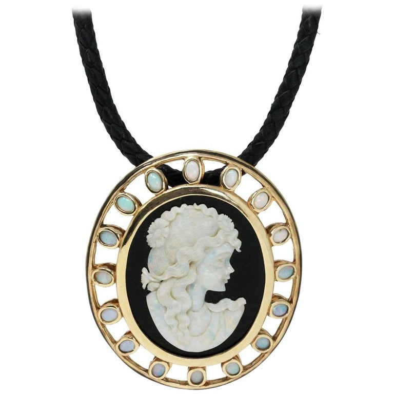 Large Onyx Opal Cameo Pendant on Leather Cord Pendant Necklace For Sale
