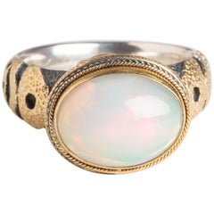 Large Opal and Diamond Dome Ring
