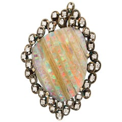 Large Opal Brooch or Pendant Surrounded by Diamonds Set in Gold