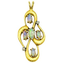 Large Opal Freeform Diamond Pendant, 14 Karat Yellow Gold