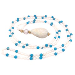 Large Opal Pearl and Turquoise Necklace