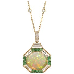 Goshwara Opal Cabochon With Tsavorites And Diamond Pendant