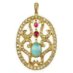 Large Opal Ruby Diamond Pendant