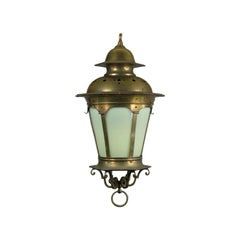 Large Vintage Nautical Opaline Glass Lantern, circa 1920s