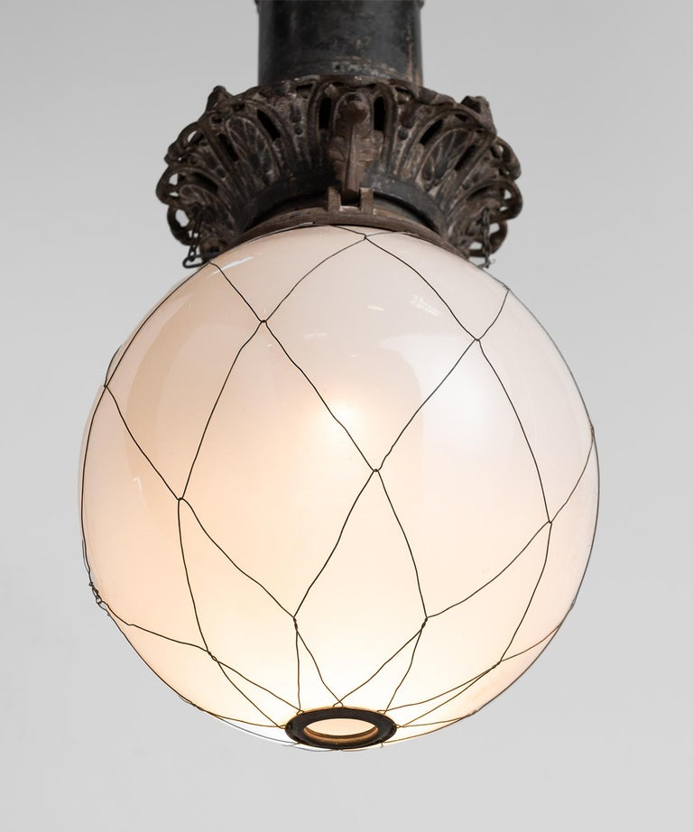 Large Opaline Glass Pendant In Good Condition For Sale In Culver City, CA