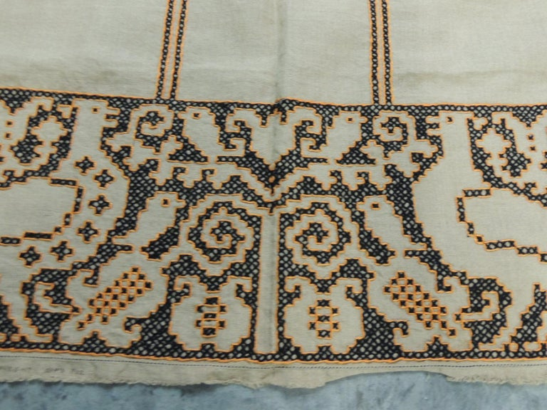 Tribal Large Orange and Black Embroidered Textile Panel For Sale