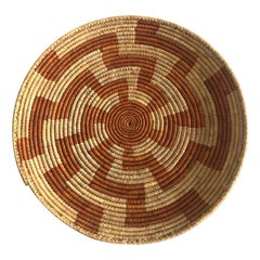 Large Orange and Natural Woven Basket