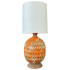 Large Orange Fat Lava Glazed Ceramic Table Lamp, 1960s