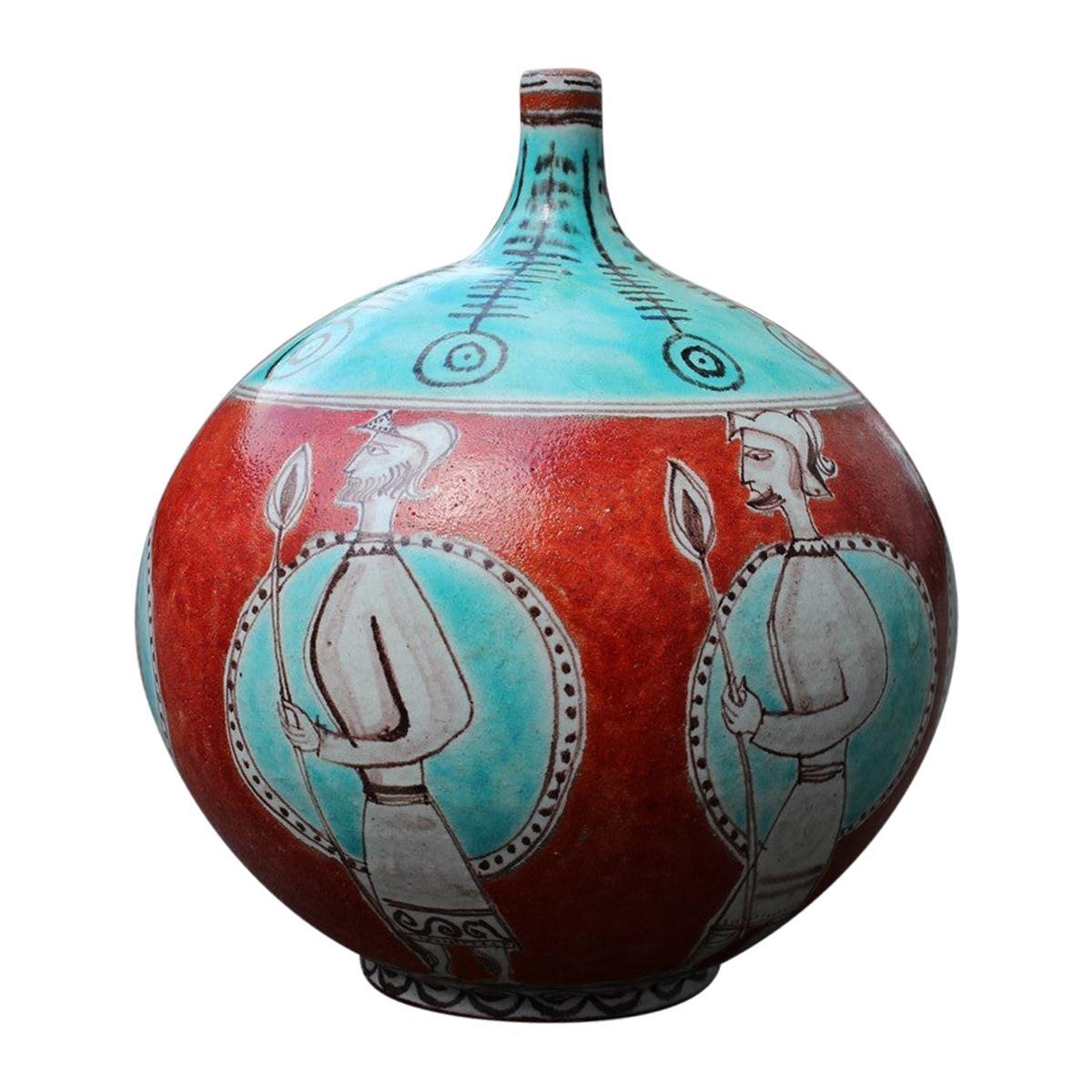 Large Orange Giovanni de Simone 1960 Vase with Picasso Style Warriors