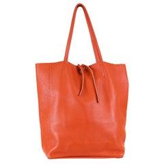 Large Orange Italian Leather Tote