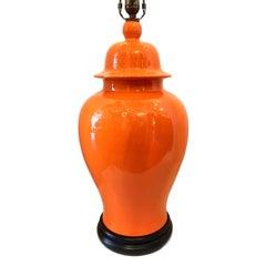 Large Orange Porcelain Table Lamp