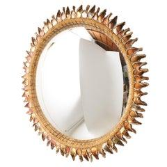 "Large ""Orange Thistle"" Mirror by Line Vautrin"