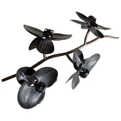 Large Orchid Sculpture by Robert Kuo, Hand Repoussé Copper, Limited Edition
