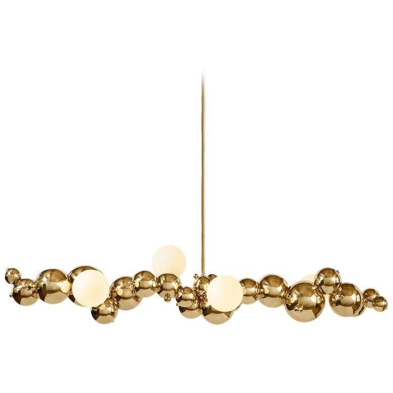 """Large Organic """"Bubbly"""" 04-Light Linear Chandelier in Polished Brass For Sale"""
