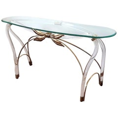 Large Organic Glass Brass & Lucite Mid-Century Modern Console Table, Spain 1970s